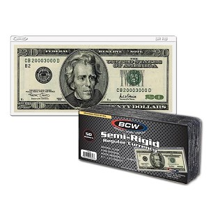 BCW Modern Semi-Rigid Currency Holder Pack of 50