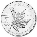 2008 Silver 1 oz Canada Maple Leaf .999 Fine Dollar Coin Vancouver Olympics