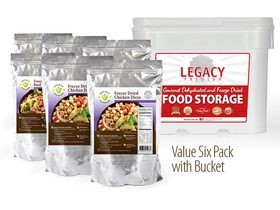 6 1lb Bags 96 Servings 100% USDA Freeze Dried Chicken Breast Diced Bucket Legacy Foods