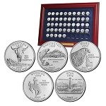 COMPLETE 1999-2009 UNC BU AMERICAN US STATE QUARTER SET IN FRAME
