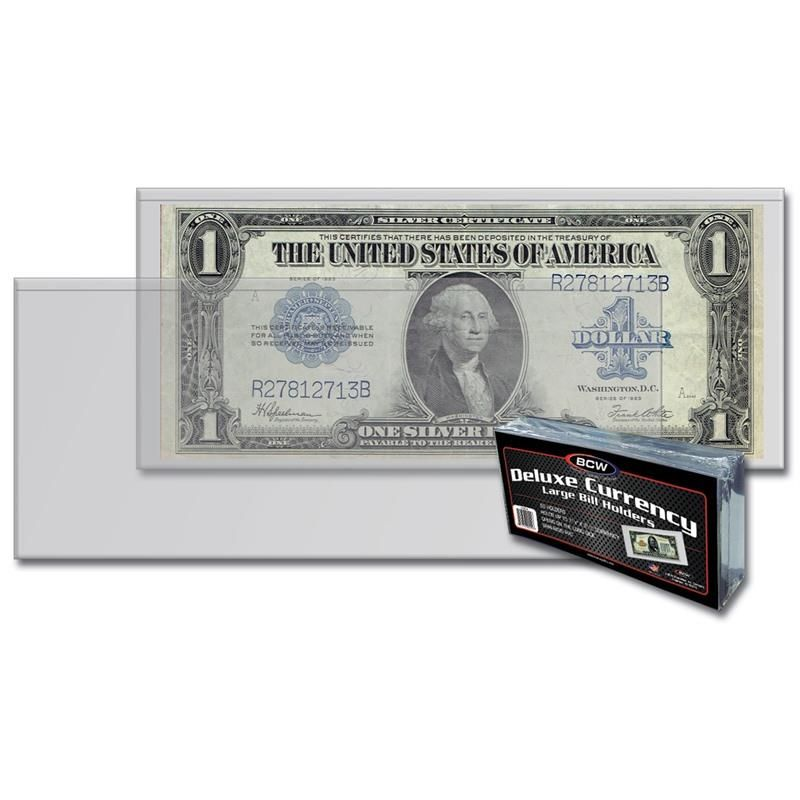 BCW Large DELUXE Currency Holder Pack of 50