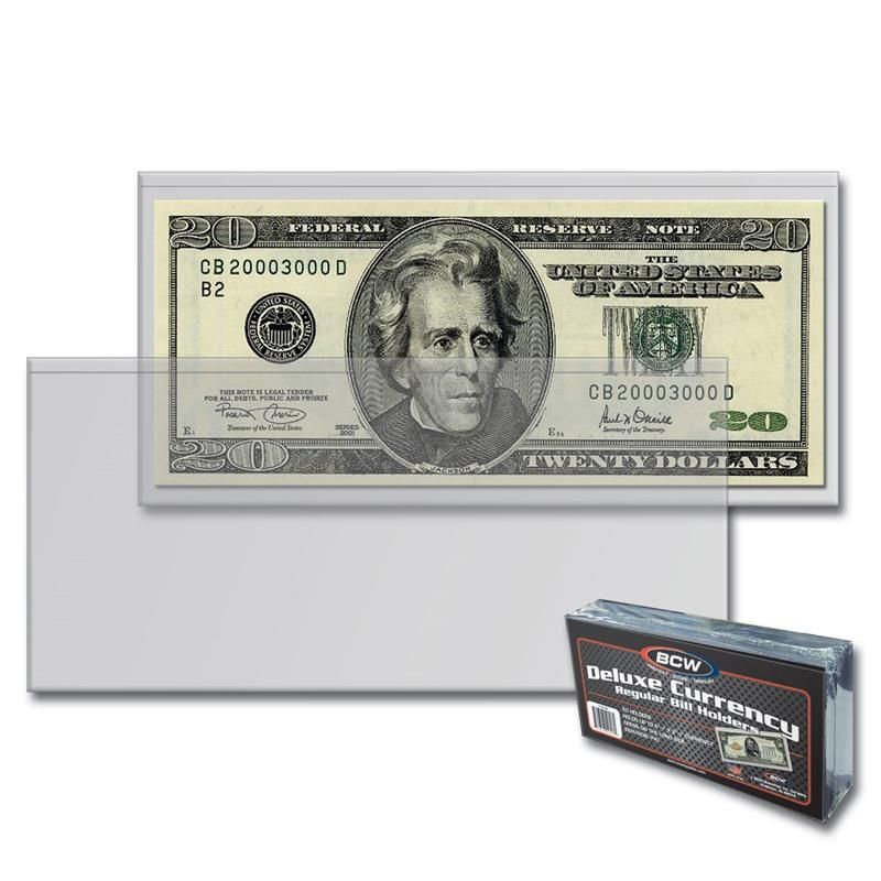 BCW Modern DELUXE Currency Holder Pack of 50