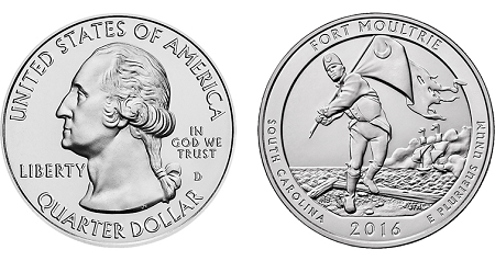 2016 Fort Moultrie at Fort Sumter National Monument National Historical Park America Quarter P
