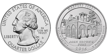 2016 Harpers Ferry National Historical Park America Quarter D