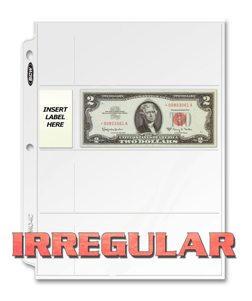 BCW Irregular Pro 4-Pocket Currency Page (100 CT Box)