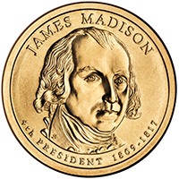 2007 James Madison Presidential Gold P Mint Dollar