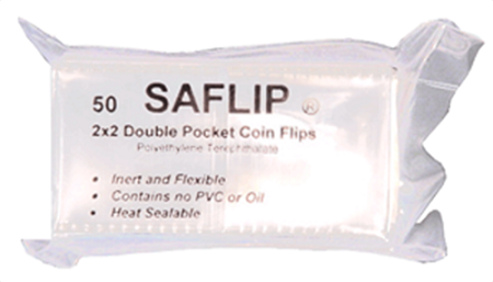 2 x 2 SAFLIP Coin Clear Double Pocket Flips 50 per pack