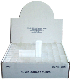 Silver Round Medallion 50 Count Numis Square Coin Storage Tubes Case