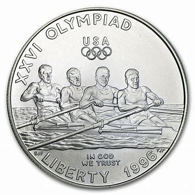 1996 Olympic Rowing Silver Dollar Commemorative Coin MS BU