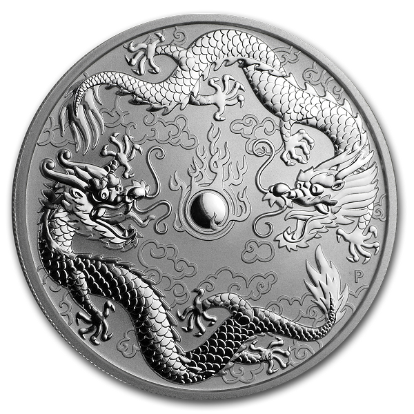 2019 1 oz Australian Silver Double Dragon Coin (BU) in Airtite Capsule